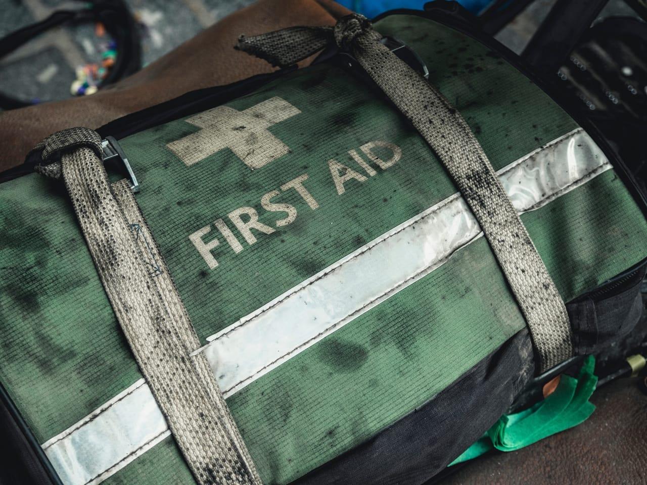 green first aid bag