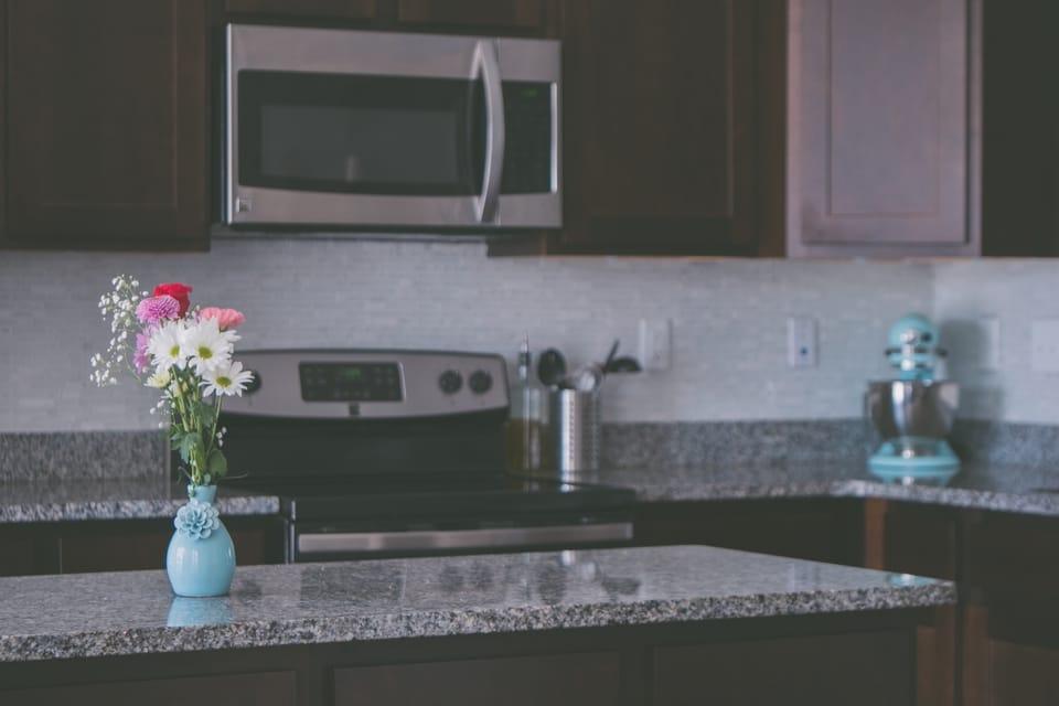 flower arrangement on a kitchen island